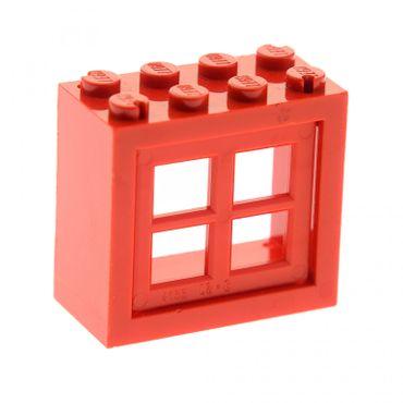 1 x Lego System Fenster Rahmen rot 2x4x3 Scheibe Gitter Fensterkreuz rot Haus 413221 4133 4132c01
