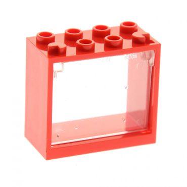1 x Lego System Fenster Rahmen rot 2x4x3 Kipp Klapp Scheibe transparent weiss 4528164 60603 60598