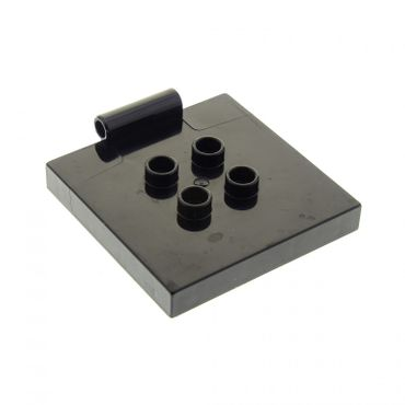 1 x Lego brick black Duplo Tile Modified 4 x 4 with 4 Center Studs and Hinge for Set 10518 5653 89465 31068