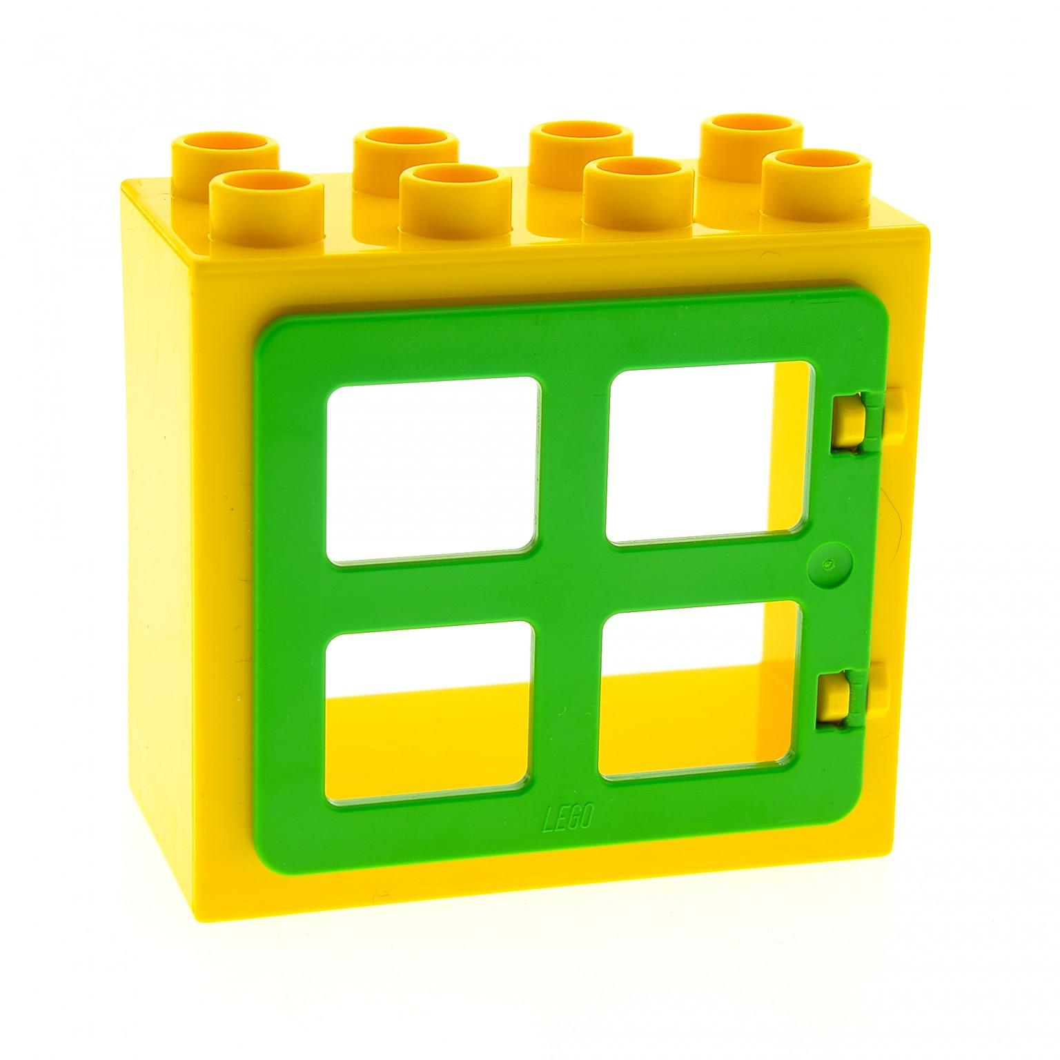 1 x lego duplo haus fenster t r rahmen gelb flach ohne clip halter 2x4x3 klappe 4 scheiben. Black Bedroom Furniture Sets. Home Design Ideas