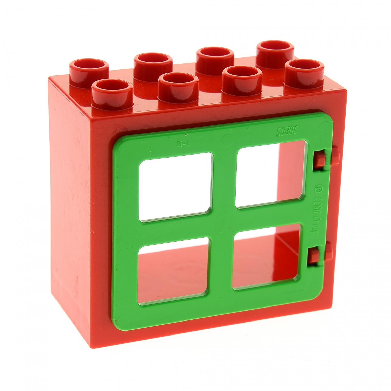 1 x lego duplo haus fenster t r rahmen rot flach ohne clip halter 2x4x3 klappe 4 scheiben gleich. Black Bedroom Furniture Sets. Home Design Ideas