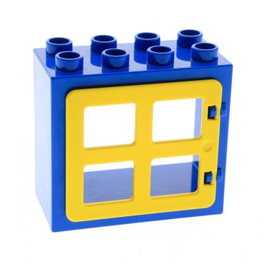 1 x Lego brick blue Duplo Door Frame Flat Front Surface, Completely Open Back with yellow Duplo Door / Window with Four (same size) Panes Square Corners 90265 61649