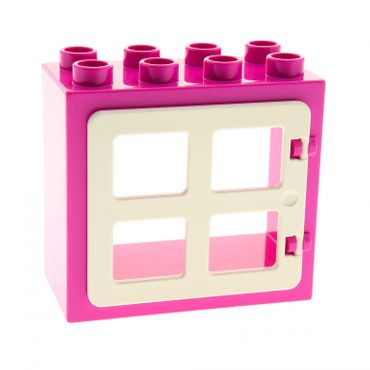 1 x Lego brick dark pink Duplo Door Frame Flat Front Surface Completely Open Back with white Duplo Door / Window with Four (same size) Panes Square Corners 90265 61649