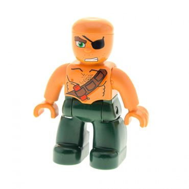 1 x Lego brick Duplo Figure Lego Ville Male Pirate Dark Green Legs Flesh Top with Strap and Dynamite Bald Head Eyepatch Set 7880 7881 47394pb088