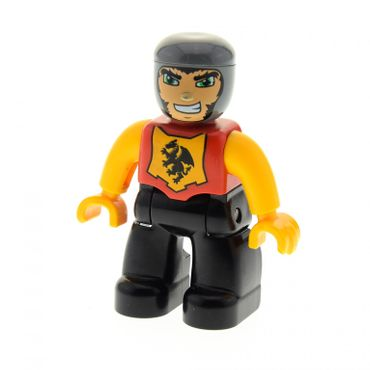 1 x Lego brick Duplo Figure Lego Ville Male Castle Black Legs Red Chest with Dragon Emblem Bright Light Orange Arms and Hands Lefty Smile Set 7846 47394pb112