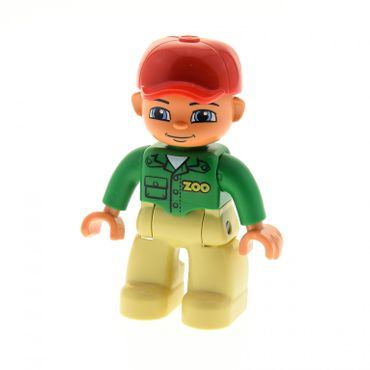 1 x Lego brick Duplo Figure Lego Ville Male Tan Legs Green Top with 'ZOO' on Front and Back Red Cap Blue Eyes (Zoo Worker) Set 6157 47394pb145
