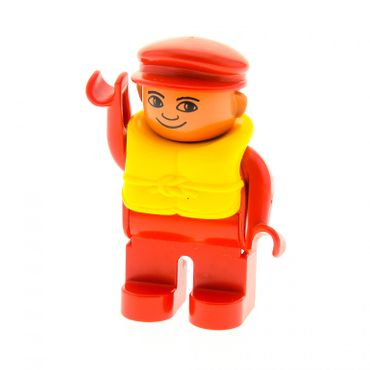1 x Lego brick Duplo Figure , Male , Red Legs , Red Top , Life Jacket , Red Cap (without white in eyes) 4555pb115