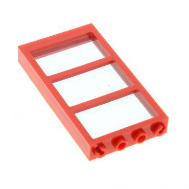 1 x Lego System Fenster Rahmen rot 1x4x6 3 Felder Scheibe Glas transparent hell blau 7945 57894 57895 4298501 57894c01