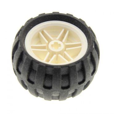 1 x Lego Technic Rad Reifen schwarz 43.2mm D. x 26mm Felge weiss  30.4mm D. x 20mm Ballon Reifen Räder  Auto Fahrzeuge (56145 / 61481) 56145c04