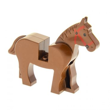 1 x Lego brick Brown Horse with Black Eyes Red Bridle Pattern 4493c01pb03