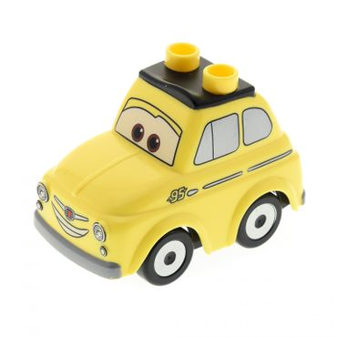 1 x Lego brick bright light yellow Duplo Car Body 2 Top Studs Compact with Cars Luigi Pattern and black Duplo Car Base 2 x 4 with 4 Black Tires with Silver Hubs Pattern 4621576 4621464 31202c03pb02 95482pb01