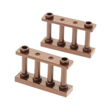 2 x Lego bricks brown Fence Spindled 1 x 4 x 2 with 2 Studs 30055