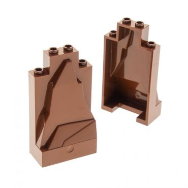 2 x Lego brick reddish brown Rock Panel 2 x 4 x 6 Set 70626 10236 8877 5883 54782 57512 47847
