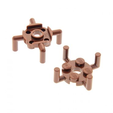 2 x Lego brick reddish brown Plate Round 2 x 2 with Pin Hole and 4 Arms Up Set 79002 75139 60097 4440 70605 75902 4648118 98284