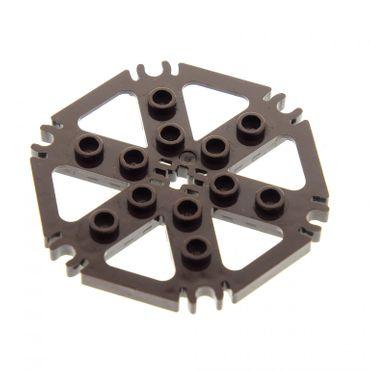 1 x Lego Technic Rotor Platte dunkel braun ca 7x7 mit 6 Clips für Rotorblätter für Hubschrauber Wasser Rad Mähdrescher Set 6918 4623927 64566