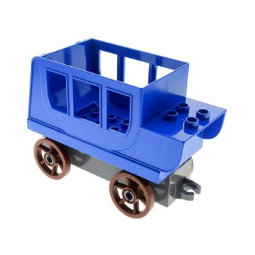 1 x Lego brick blue Duplo Horse Carriage Body with dark bluish gray Duplo Car Base 2 x 8 x 1 1/2 with Large Reddish Brown Spoked Wheels Set 4862 31176 31174c04