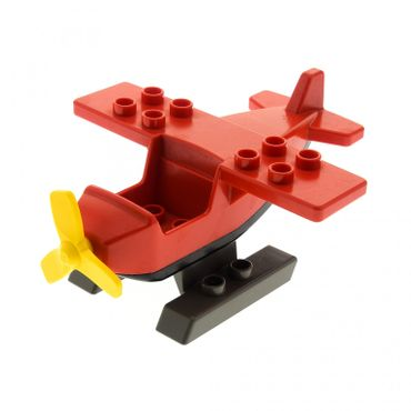 1 x Lego Duplo brick red Duplo Airplane Small Wings on Top with black Underside and yellow Propeller with dark gray  Duplo Helicopter Skids Small 6353 2159c04