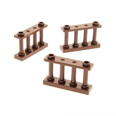 3 x Lego bricks reddish brown Fence Spindled 1 x 4 x 2 with 2 Studs 4211300 30055