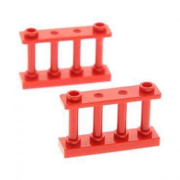 2 x Lego System Zaun rot 1 x 4 x 2 Spindel Gatter Zäune Absperrung 30055