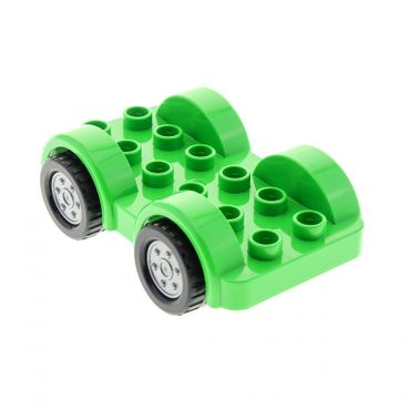 1 x Lego brick bright green Duplo Car Base 2 x 6 with Four Black Tires and Flat Silver Wheels on Fixed Axles 6048909 11841c01