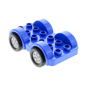 1 x Lego brick blue Duplo Car Base 2 x 6 with Four Black Tires and Flat Silver Wheels on Fixed Axles 6048908 11841c01