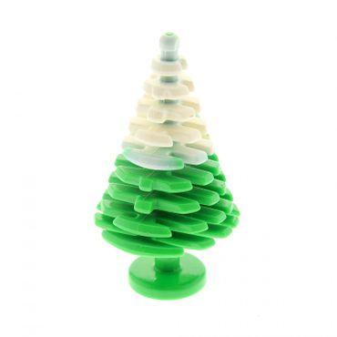 1 x Lego System Pflanze grün mit Spitze weiss marmoriert Tanne Pinie groß 4 x 4 x 6 2/3 Nadel Baum abgerundet Tannenbaum 7600 5961 3471pb01