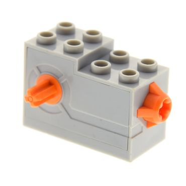 1 x Lego brick light bluish gray Windup Motor 2 x 4 x 2 1/3 with Orange Release Button 61100c01