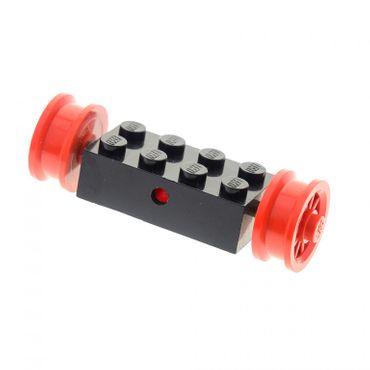 1 x Lego System Rad Achse schwarz 2x4 mit 2x Speichen Rad rot Auto Zug Räder 7049b bb19