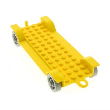 1 x Lego System Fabuland Fahrzeug gelb 14x6 Chassis Fahrgestell Auto Anhänger Platte Rad Speichen Räder 329 140 350 fabaa1
