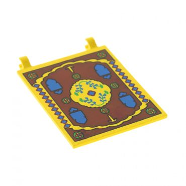 1 x Lego brick Yellow Flag 6 x 4 with Oriental Rug Pattern Set Scorpion Palace 7418 2525px3
