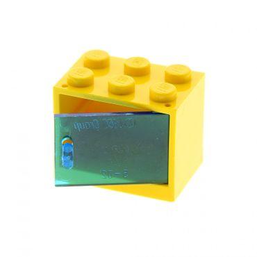 1 x Lego System Schrank gelb 2 x 3 x 2 Tür transparent blau  Kiste Box Container Noppen voll 4533 4532a