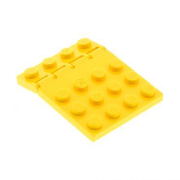 1 x Lego System Bau Platte gelb 4x4 Klappe mit Scharnier Auto Dach Classic Space  4315 4213