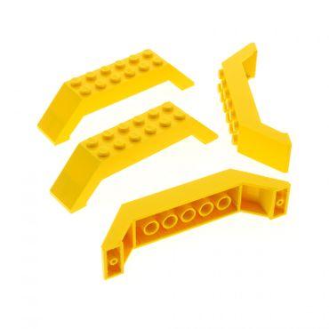 4 x Lego System Bogenstein gelb 45° 10x2x2 doppel schräg Stein Dach Brücke für Set City 5885 7775 7344 30180