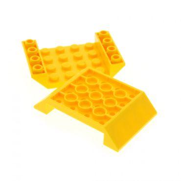 2 x Lego System negativ Dach Stein gelb 6x4 Schrägstein 45° Ziegel Rumpf Unterteil 30283