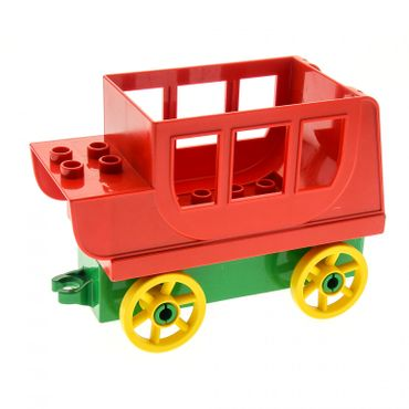 1 x Lego brick red Duplo Horse Carriage Body with green Duplo Car Base 2 x 8 x 1 1/2 with Large yellow Spoked Wheels Set 9185 31176 31174c04