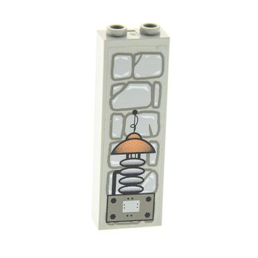 1 x Lego brick light gray Brick 1 x 2 x 5 with Stone and Electrical Gear Pattern (Sticker) - Set 1382 2454pb013