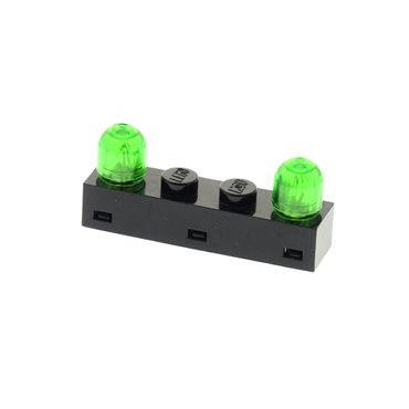 1 x Lego brick black Electric Light & Sound Light Brick 1 x 4 with Twin Top Lights with trans-green Electric Light Bulb Cover (Colored Globe) for Set Blacktron Monorail Ufo 4773 4771