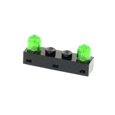1 x Lego  System Electric Licht Stein schwarz 1x4 2 Lampen Light & Sound Kappe transparent grün geprüft Blacktron Monorail Ufo 4773 4771