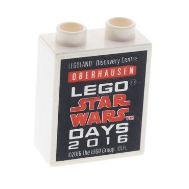 1 x Lego Duplo Motivstein Sonderstein Sammelstein weiss 1x2x2 Legoland Discovery Centre Oberhausen Lego Star Wars Days 2016 76371pb023