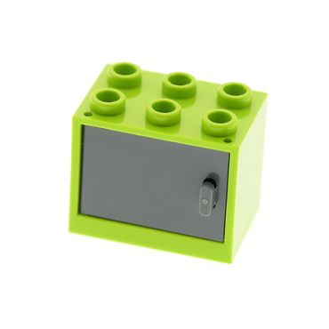 1 x Lego brick lime Container, Cupboard 2 x 3 x 2 with dark bluish gray Door 4533 92410 4532