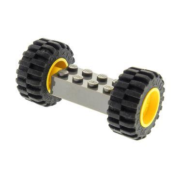 1 x Lego System Rad Achse alt-dunkel grau Felge gelb 18mm D. x 14mm Auto Räder schwarz 30.4 x 14 mit Profil Achshalter Stein 2x4 6249  30285c01