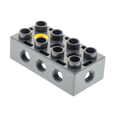 1 x Lego brick dark bluish gray Duplo Toolo Brick 2 x 4 with Holes on Sides and Top and 1 Screw in Top 31184c01