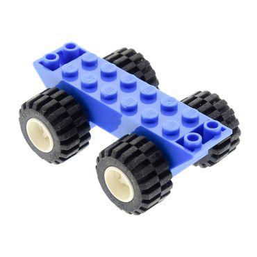 1 x Lego System Fahrgestell blau 2x8x1 1/3 mit Räder Rad weiss Auto LKW Unterbau Platte Chassis (6014b / 6015) 6014bc01 30277