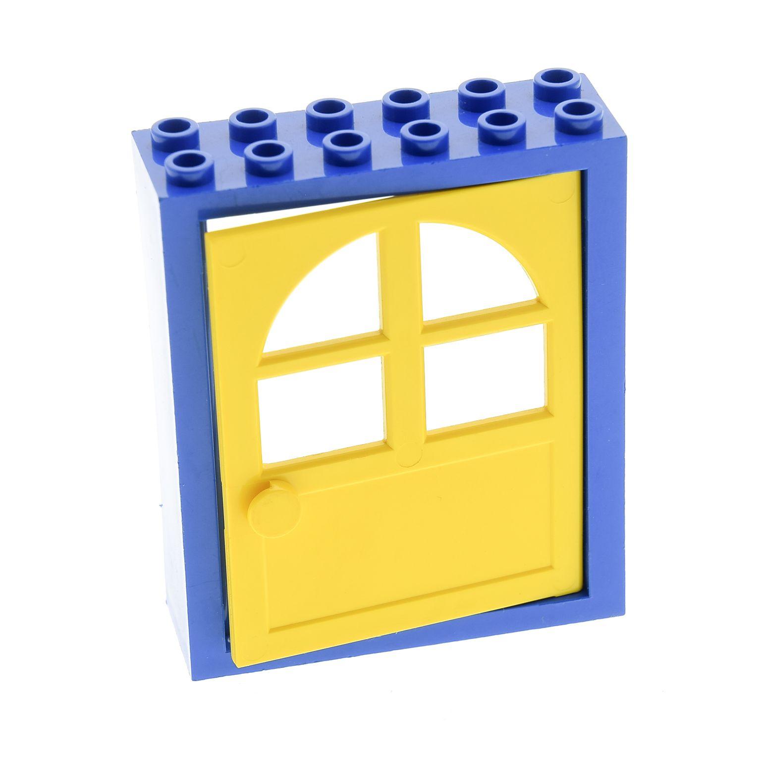 1 x Lego System Freestyle Haustür Rahmen blau 2x6x6 Tür Blatt gelb ...