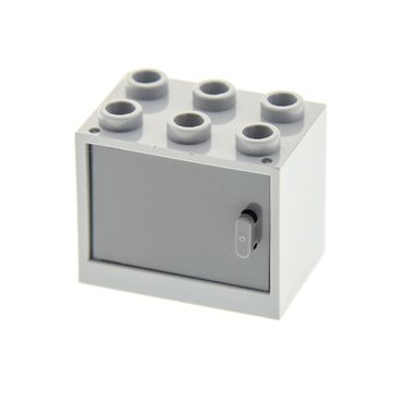 1 x Lego brick light bluish gray Container, Cupboard 2 x 3 x 2 with dark bluish gray Door 4533 92410 4532