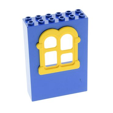 1 x Lego brick blue Fabuland Building Wall 2 x 6 x 7 with Squared Yellow Window Set 3681 3683 3678 3676 x637c02