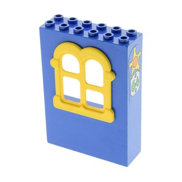 1 x Lego brick blue Fabuland Building Wall 2 x 6 x 7 with Squared Yellow Window with Sheriff Badge and No 64 Pattern (Sticker) - Set 3664 x637c02pb05
