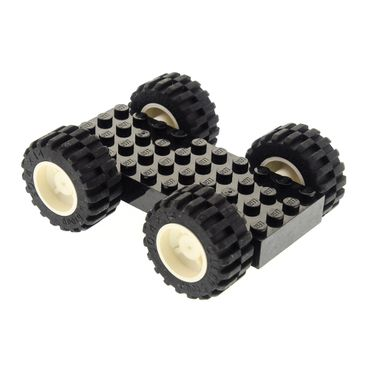 1 x Lego brick black Brick, Modified 4 x 10 with 4 Pins with 4x white Wheel 18mm D. x 14mm with Black Tire 30.4 x 14 (30285 / 30391) 30076