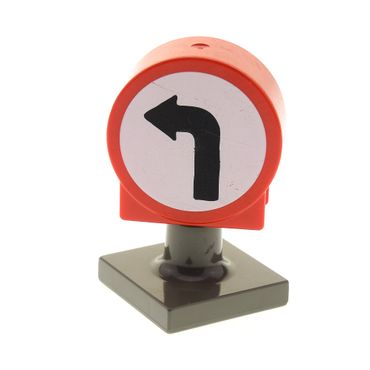 1 x Lego brick red Duplo, Brick 1 x 3 x 2 Round Top Road Sign with Left Turning Arrow Pattern and dark gray Duplo Sign Post Short 41970pb02 4375