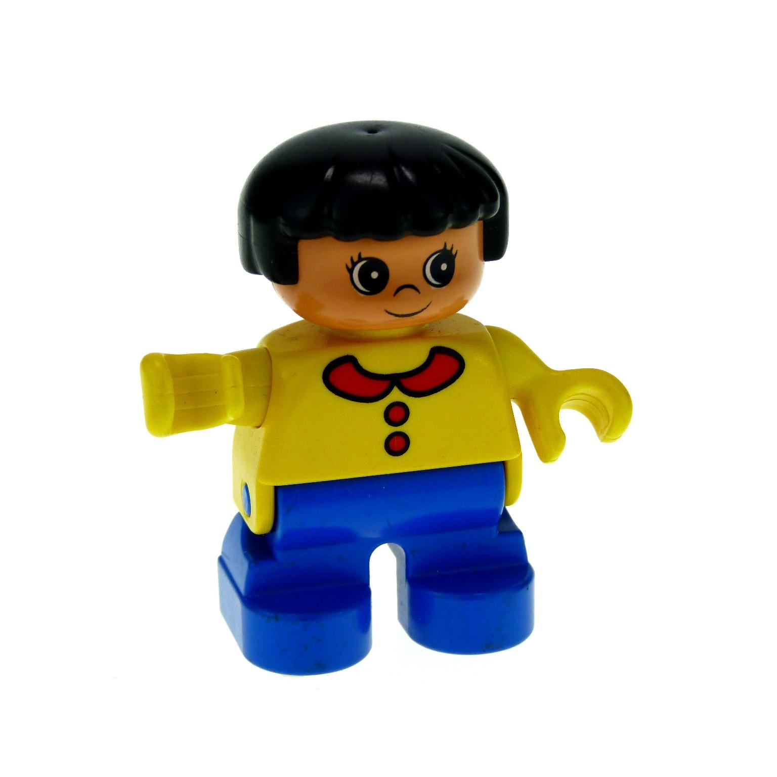 1 x Lego Duplo Figur Kind B-Ware abgenutzt Mädchen Hose blau ...